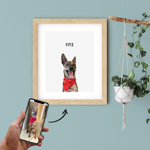 Hand holding a cellphone with the original picture of a dog that is used to transform the pet into a modern art piece. Custom pet portrait of a dog on cloud white background with black frame and personalized name in black font.