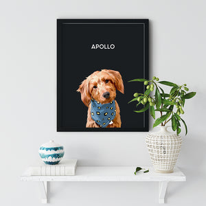 Black Pet Portrait Framed