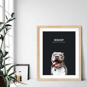 Custom pet portrait of a dog on onyx black background. Personalized name of dog and unique characteristic in white font.