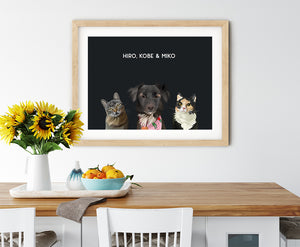 Trio custom pet portrait of a cat, dog and cat on onyx black background. Personalized name of cat, dog and cat in white font.