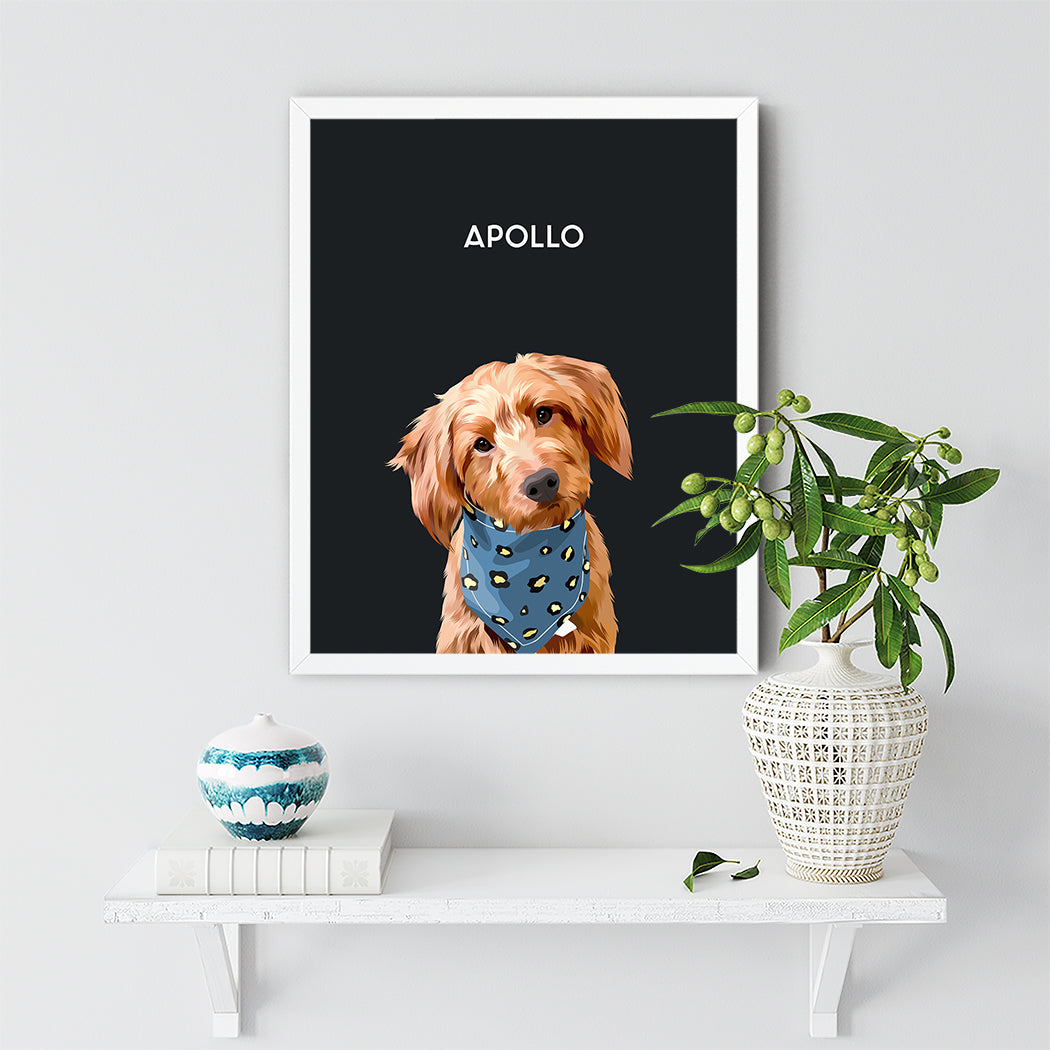 single pet portrait framed Apollo Dog