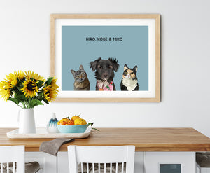 Trio custom pet portrait of a cat, dog and cat on ocean blue background. Personalized name of cat, dog and cat in black font.