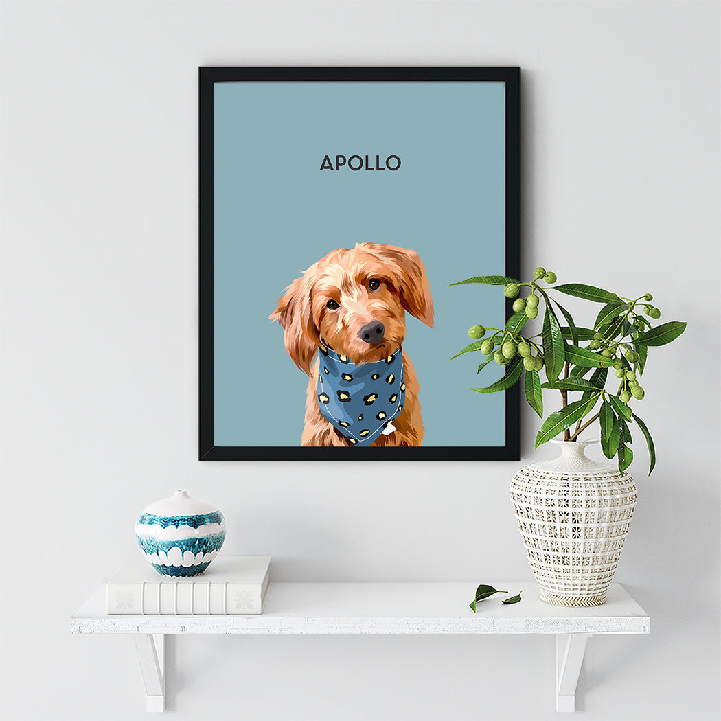 Black pet framed portrait Apollo