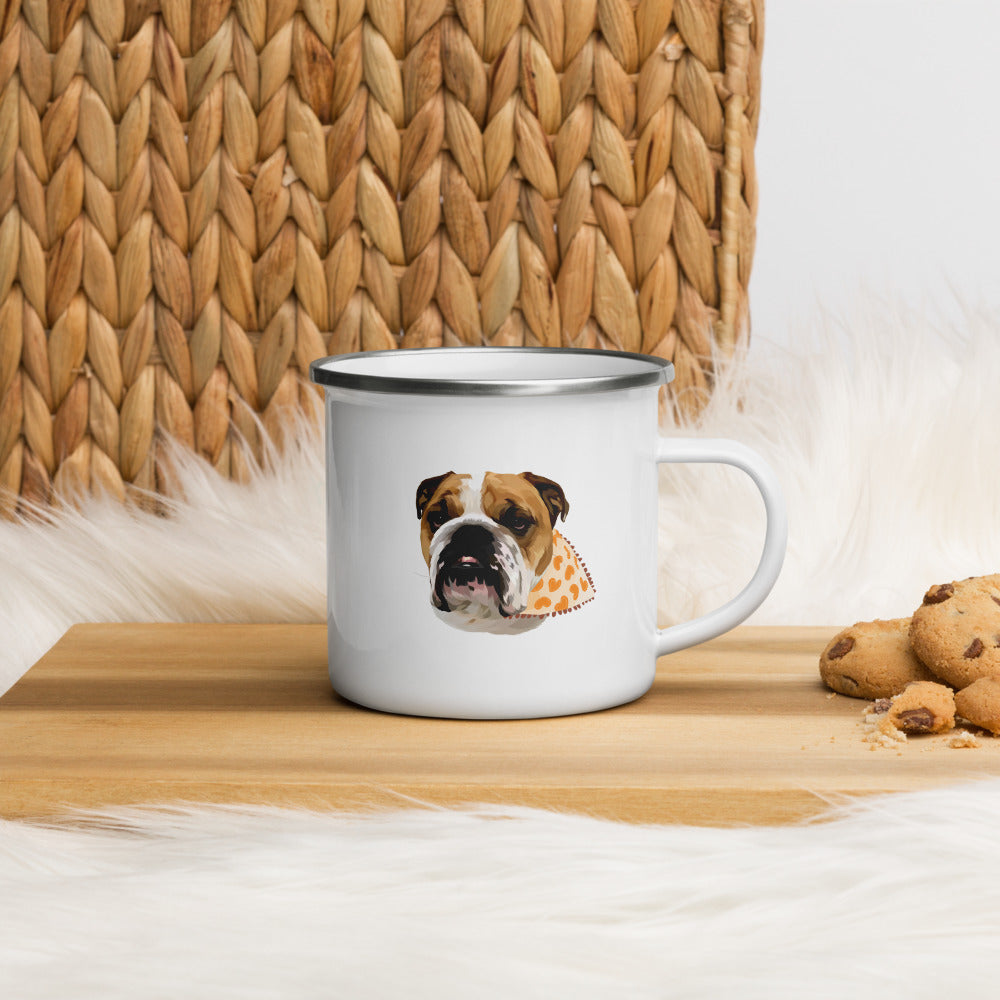 Custom dog art pet portrait of a bull dog on our 12 ounce white enamel mug. The mug is on a cutting board with some cookies beside it.
