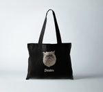 Load image into Gallery viewer, 100% certified organic canvas tote bag in jet black, with personalized pet portrait of a cat with its name in white.