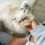Load image into Gallery viewer, Custom modern pet portrait of a cat on a ceramic mug and the cat being scratched under his chin.