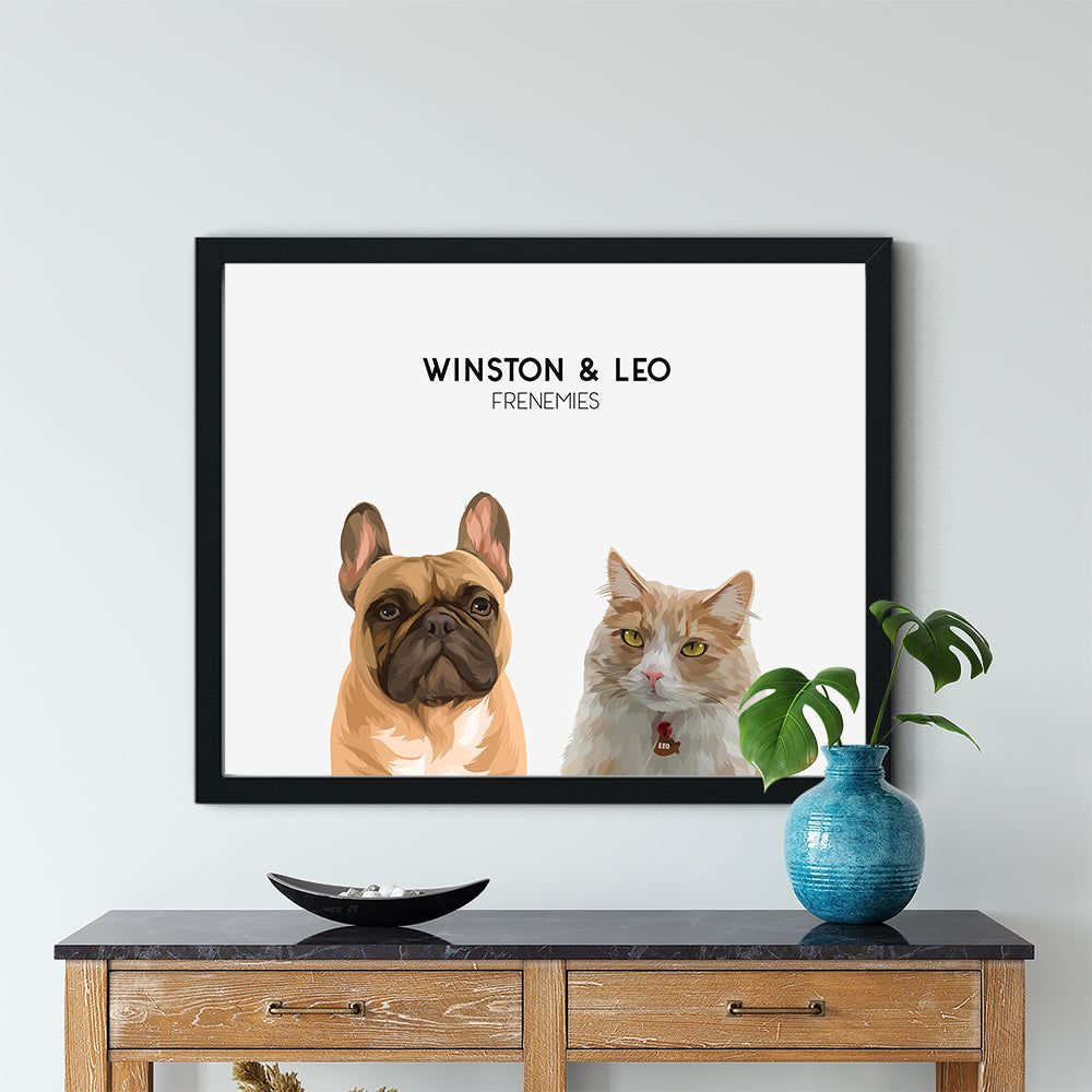 Custom pet portrats of a Frenchie dog and Tabby Cat on out Cloud White background and black frame. Their personalized portrait includes their names and personalization printed in black. Duo pet portraits make the perfect cat lover gift and dog lover gift.