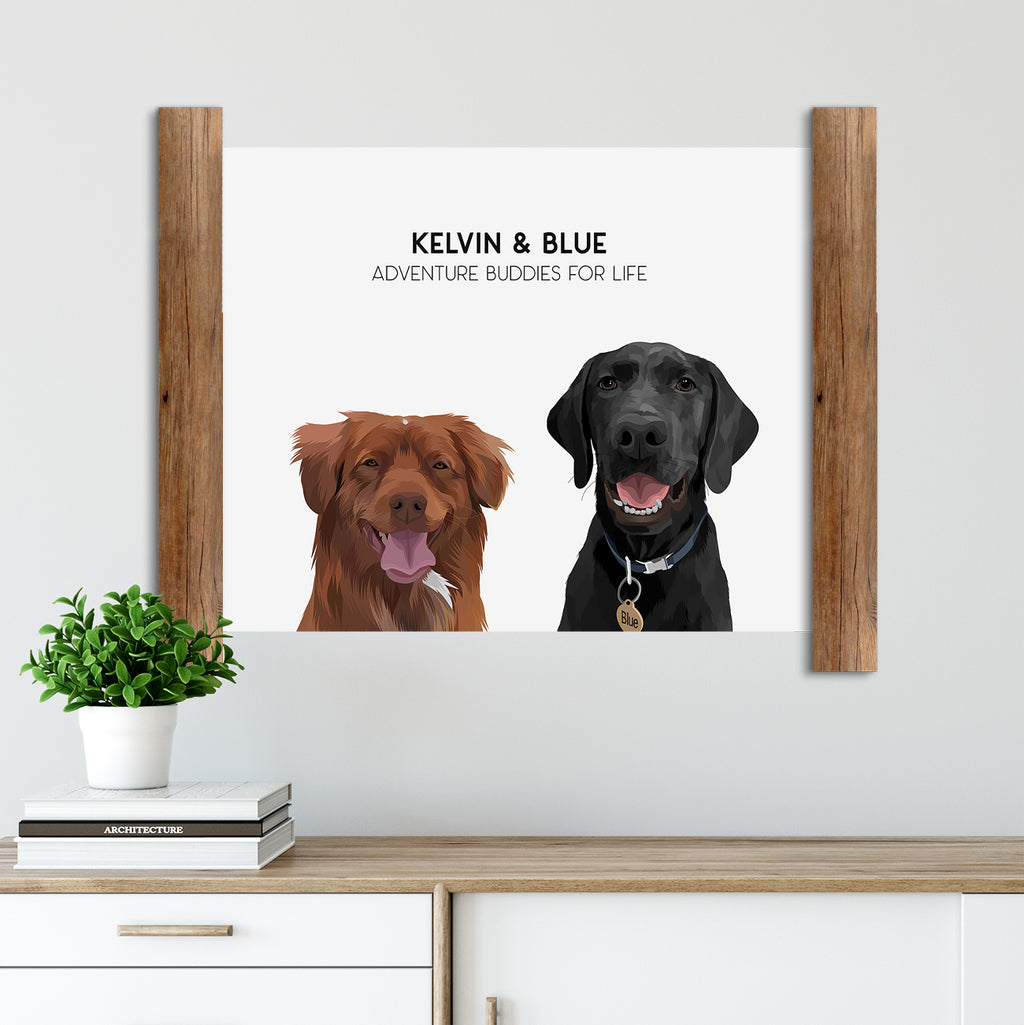 Custom Two Pet Portrait of two dogs on our Cloud White background. Their customized poster includes their names and unique characteristic. Duo pet portraits make the perfect pet owner or dog owner gift.