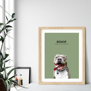 Custom pet portrait of a dog on sage green background. Personalized name of dog and unique characteristic in black font.