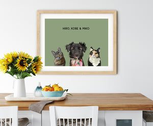 Trio custom pet portrait of a cat, dog and cat on sage green background. Personalized name of cat, dog and cat in black font.