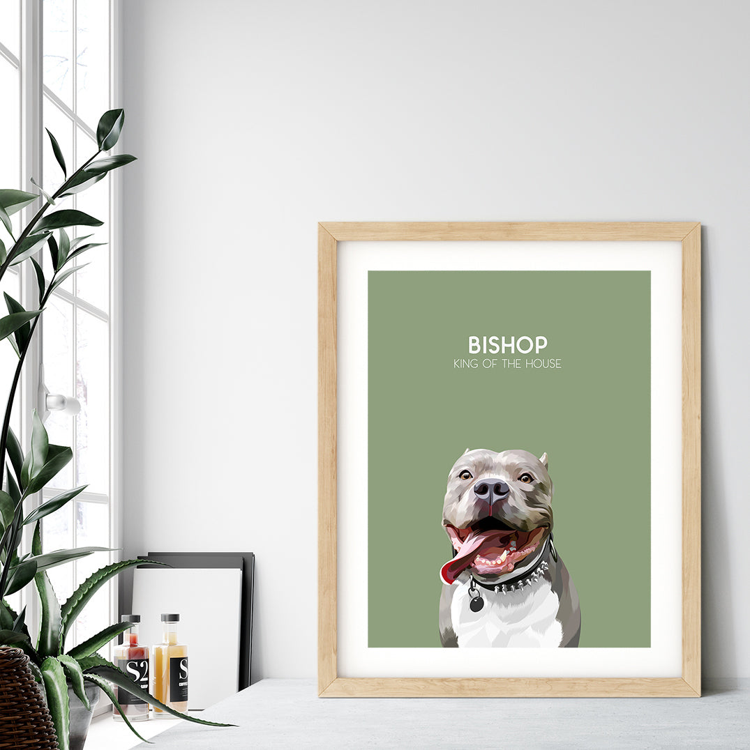 Custom pet portrait of a dog on sage green background. Personalized name of dog and unique characteristic in white font.