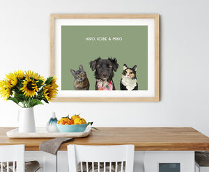 Trio custom pet portrait of a cat, dog and cat on sage green background. Personalized name of cat, dog and cat in white font.