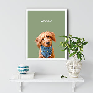 Single White Pet Portrait Framed