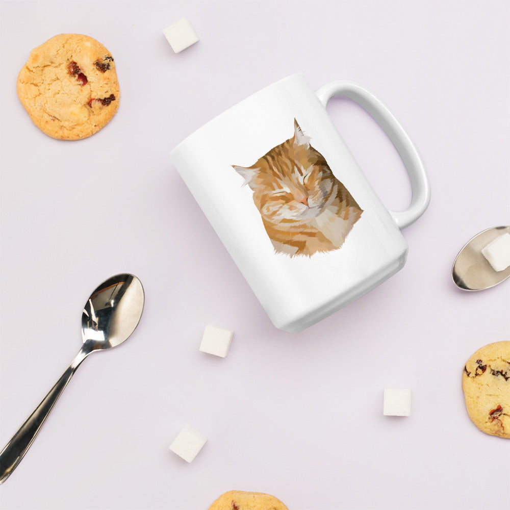 Custom pet portrait of a cat on a 15 ounce white ceramic mug that is placed on its side, surrounded by cookies, sugar cubes and spoons.