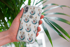 Dog pattern Samsung phone case patterned. A custom dog portrait phone case held up on display.