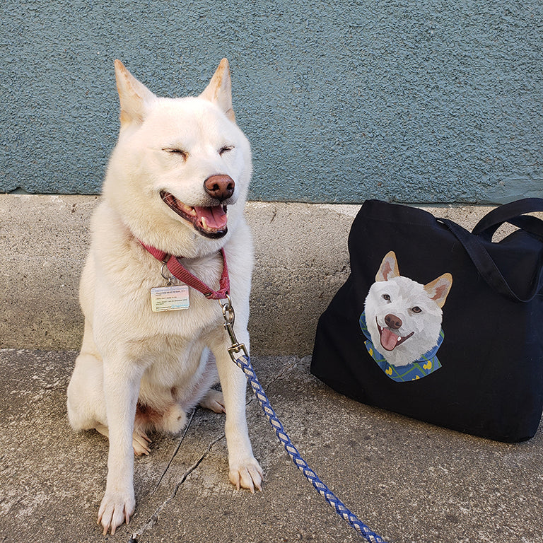 Canvas tote bag in jet black, with personalized pet portrait of a dog.