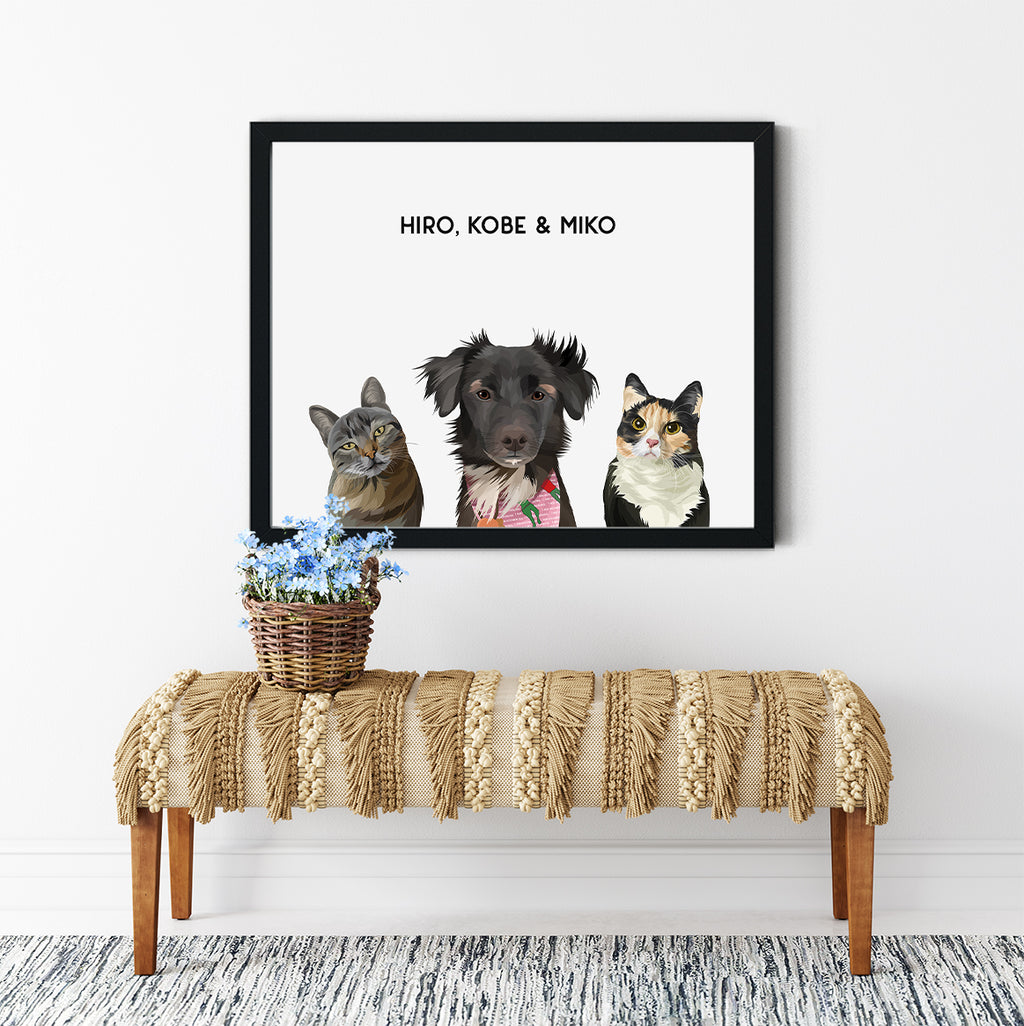 Trio custom framed pet portrait of a two cats and a dog on our Cloud White background with black frame. Personalized name of the pets in black font.