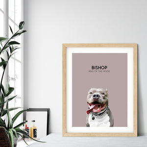 Custom pet portrait of a dog on blush pink background. Personalized name of dog and unique characteristic in black font.