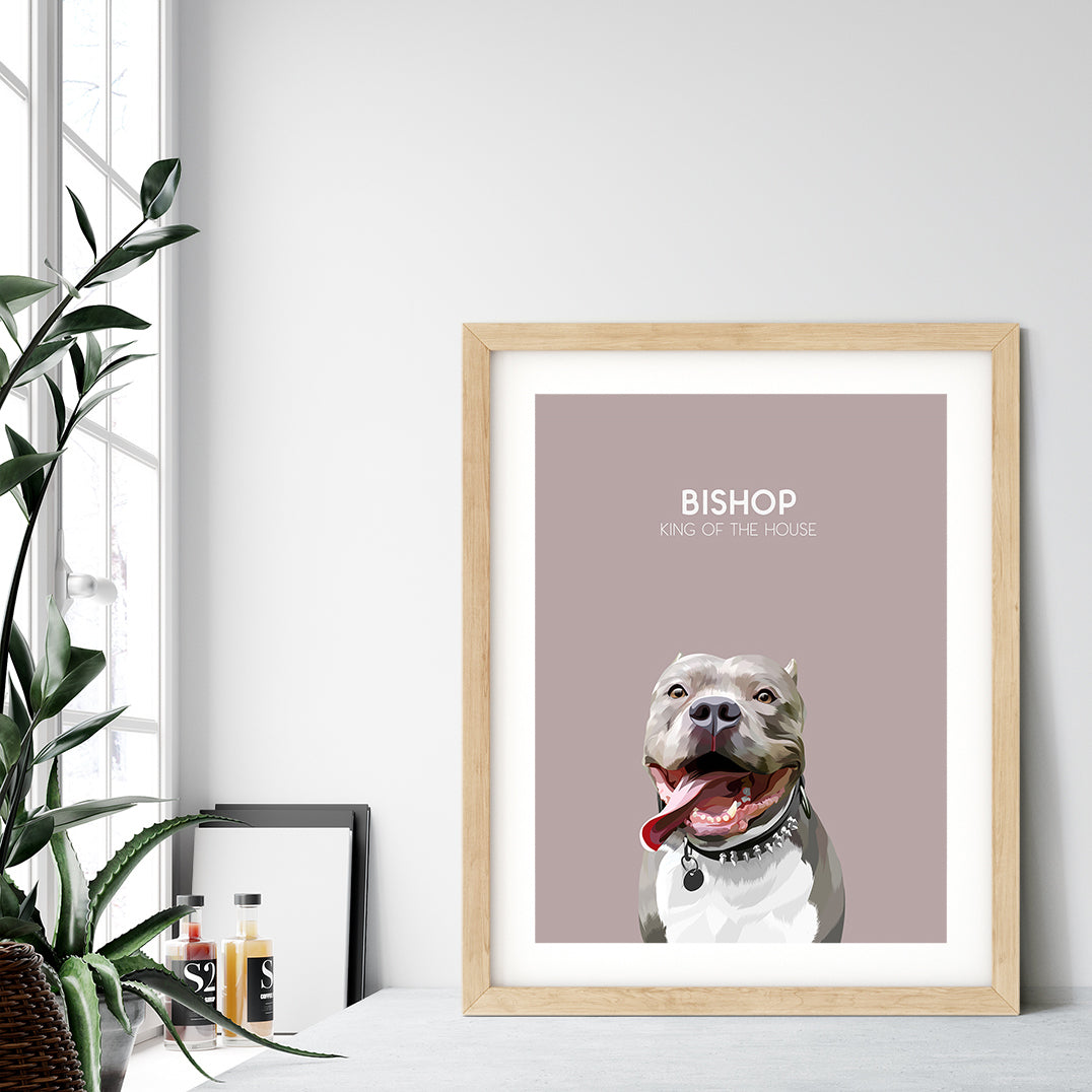 Custom pet portrait of a dog on blush pink background. Personalized name of dog and unique characteristic in white font.