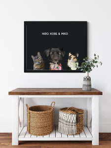 Trio custom framed pet portrait of a cat, dog and cat on onyx black background with black frame. Personalized name of cat, dog and cat in white font.