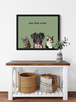 Load image into Gallery viewer, Trio custom framed pet portrait of a cat, dog and cat on sage green background with black frame. Personalized name of cat, dog and cat in black font.
