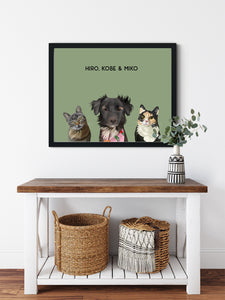 Trio custom framed pet portrait of a cat, dog and cat on sage green background with black frame. Personalized name of cat, dog and cat in black font.