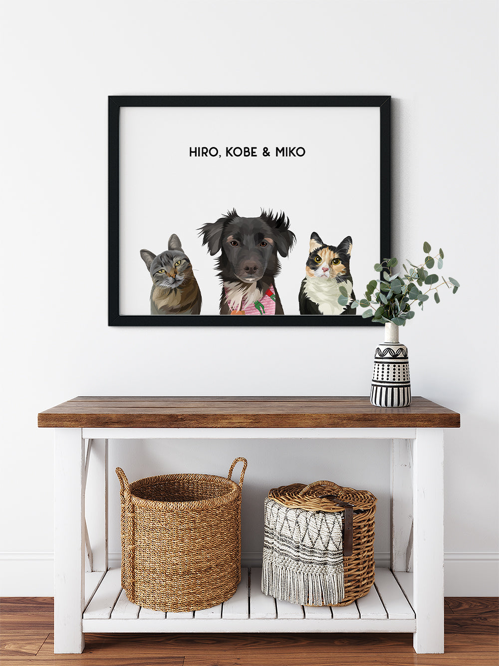 Trio custom framed pet portrait of a cat, dog and cat on cloud white background with black frame. Personalized name of cat, dog and cat in black font.