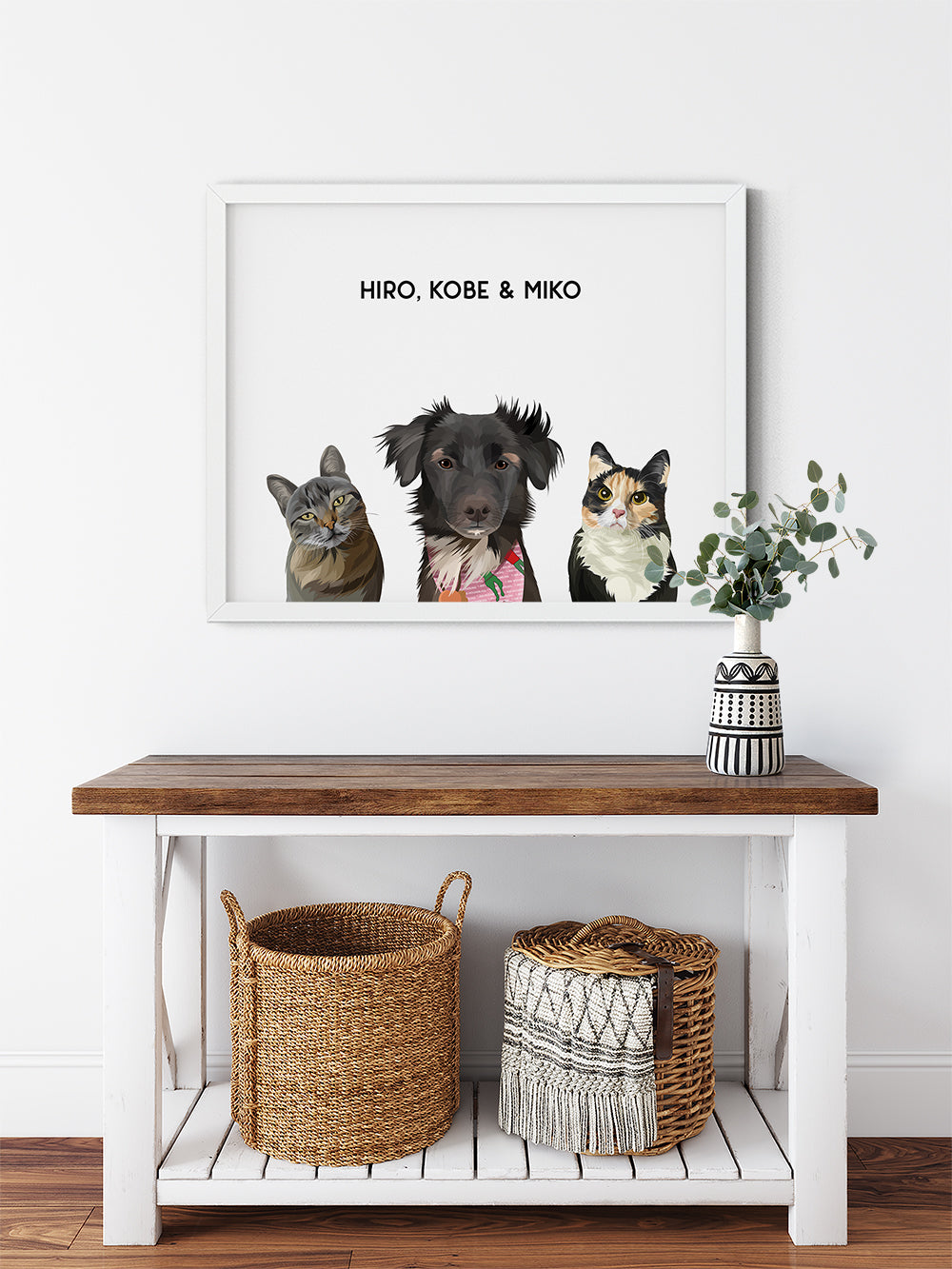 Trio custom framed pet portrait of a cat, dog and cat on cloud white background with white frame. Personalized name of cat, dog and cat in black font.