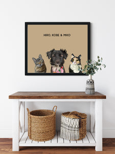 Trio custom framed pet portrait of a cat, dog and cat on desert sand background with black frame. Personalized name of cat, dog and cat in black font.