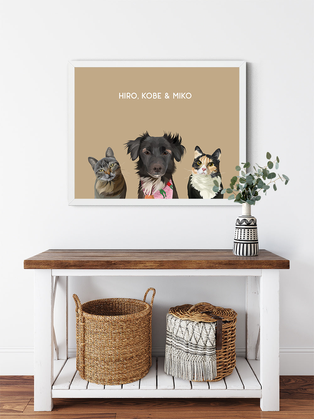 Trio custom framed pet portrait of a cat, dog and cat on desert sand background with white frame. Personalized name of cat, dog and cat in white font.