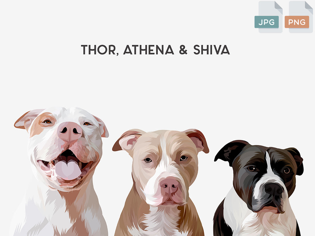 Custom pet portraits of three pets. Three pitbulls with their names customized above their modern pet portraits. This is a digital download file.