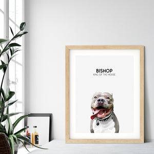 Custom pet portrait of a dog on cloud white background. Personalized name of dog and unique characteristic in black font.