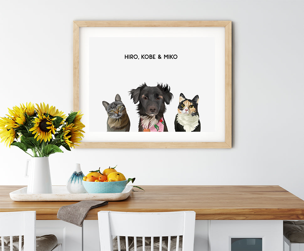 Trio custom pet portrait of a cat, dog and cat on cloud white background. Personalized name of cat, dog and cat in black font.