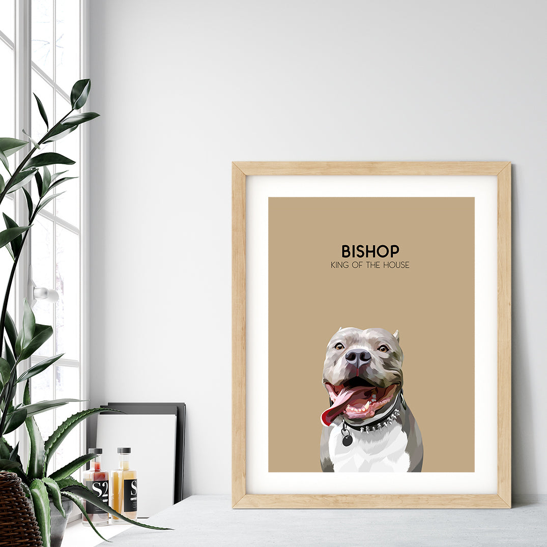 Custom pet portrait of a dog on desert sand background. Personalized name of dog and unique characteristic in black font.
