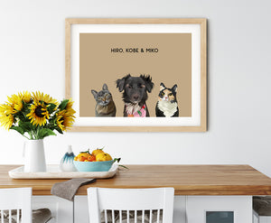 Trio custom pet portrait of a cat, dog and cat on desert sand background. Personalized name of cat, dog and cat in black font.