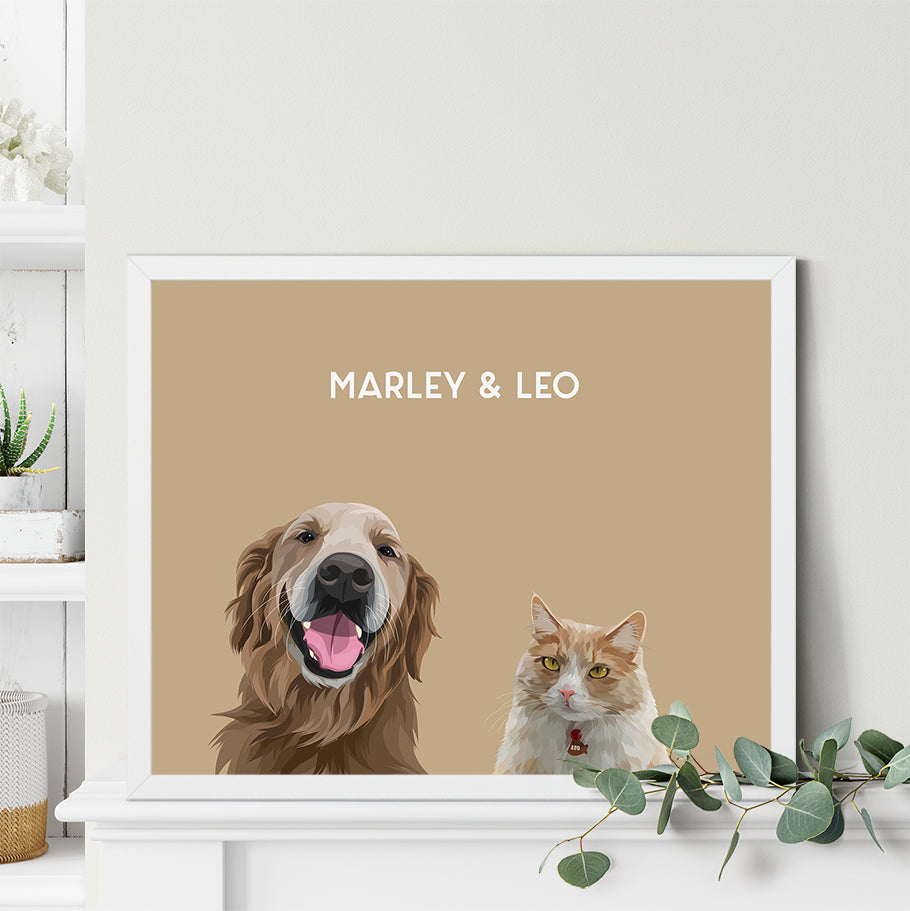 Custom Duo Pet Portrait - Framed