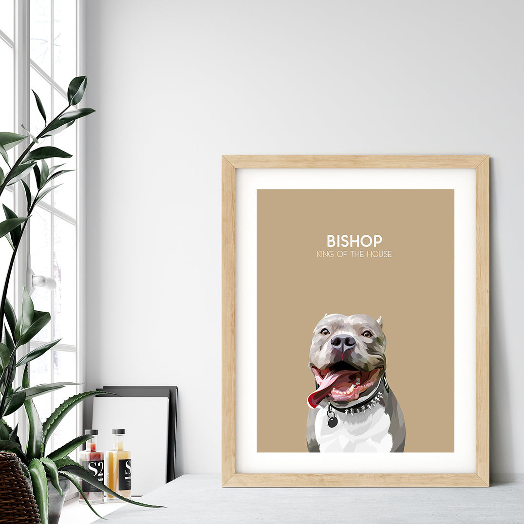 Custom pet portrait of a dog on desert sand background. Personalized name of dog and unique characteristic in white font.