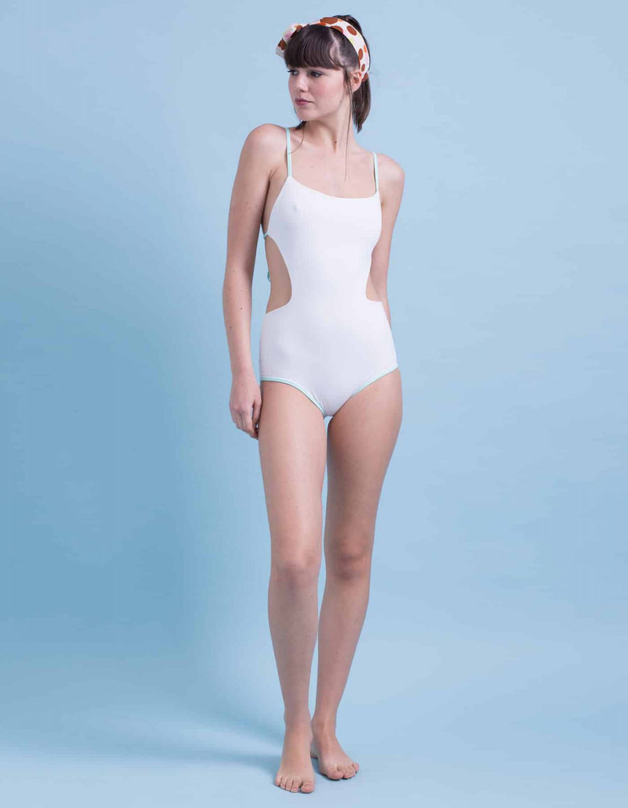 Lara white&pastel light green frame one-piece