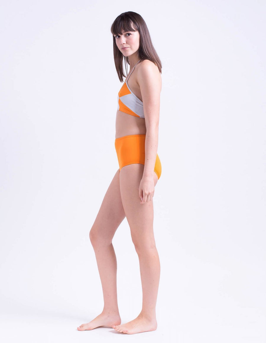 Lily geometric top orange&light grey
