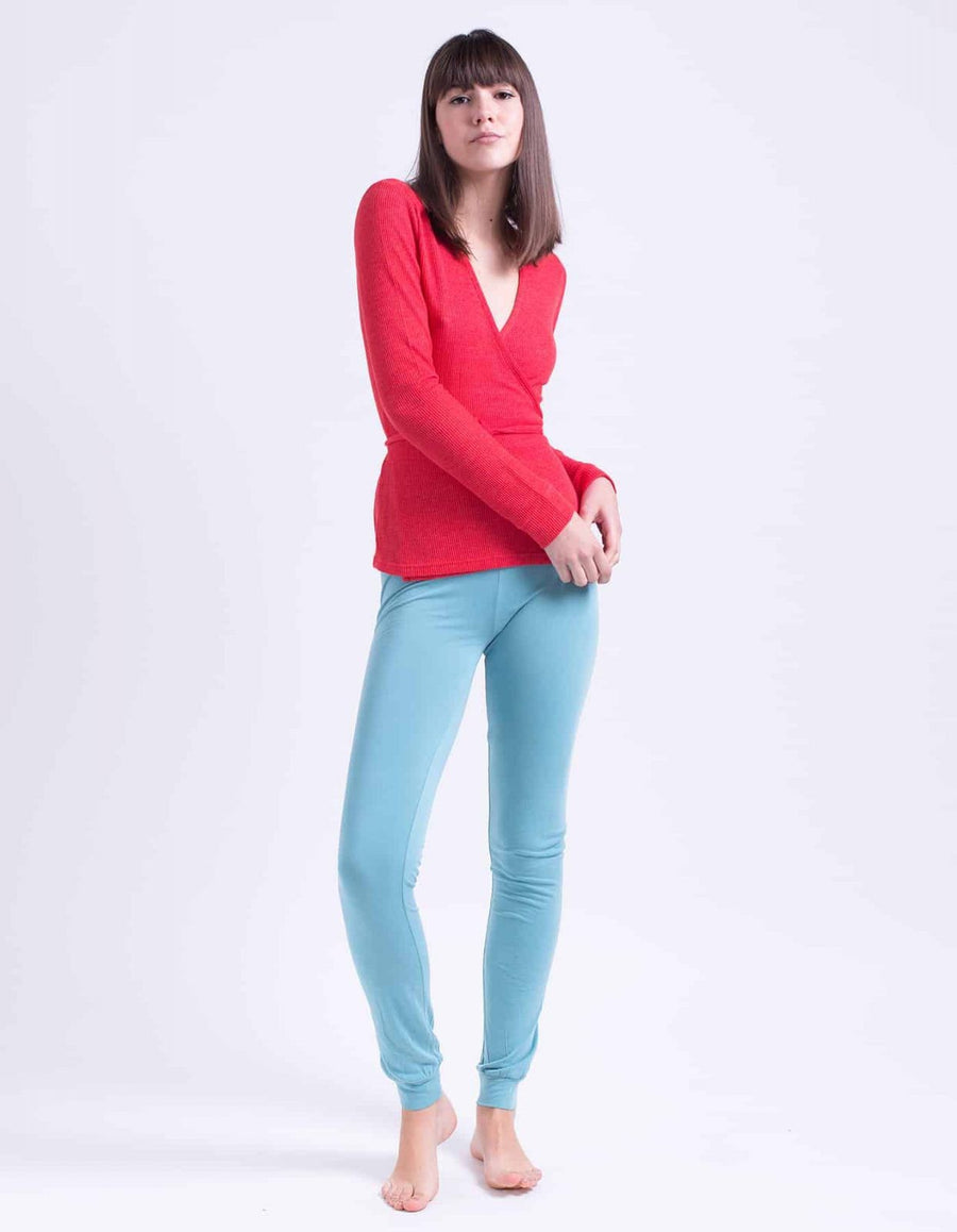 Audrey red wrap shirt