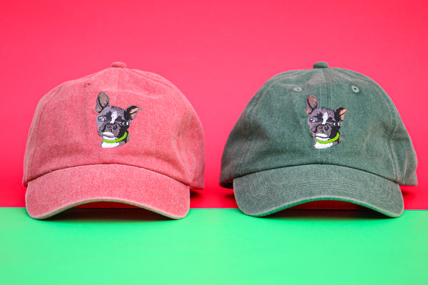 Boston Terrier Red and Green Vintage Hats