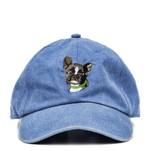 Load image into Gallery viewer, Boston Terrier Hat - Blue. Vintage. Washed Cotton. Front View. Ruperto