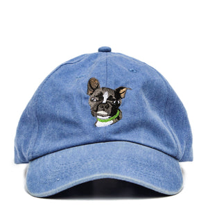 Boston Terrier Hat - Blue. Vintage. Washed Cotton. Front View. Ruperto