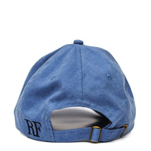 Load image into Gallery viewer, Boston Terrier Hat - Blue. Vintage. Washed Cotton. Back View. Ruperto