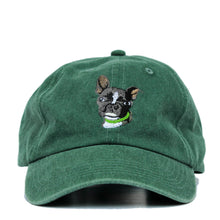 Load image into Gallery viewer, Boston Terrier Hat - Green. Vintage. Washed Cotton. Front View. Ruperto