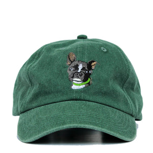Boston Terrier Hat - Green. Vintage. Washed Cotton. Front View. Ruperto