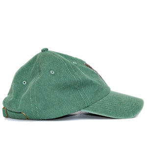 Boston Terrier Hat - Green. Vintage. Washed Cotton. Side View. Ruperto
