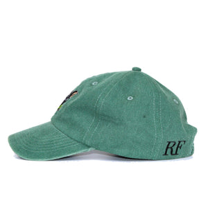 Boston Terrier Hat - Green. Vintage. Washed Cotton. Ride Side View. Ruperto
