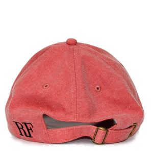 Boston Terrier Hat - Red. Vintage. Washed Cotton. Back View. Ruperto
