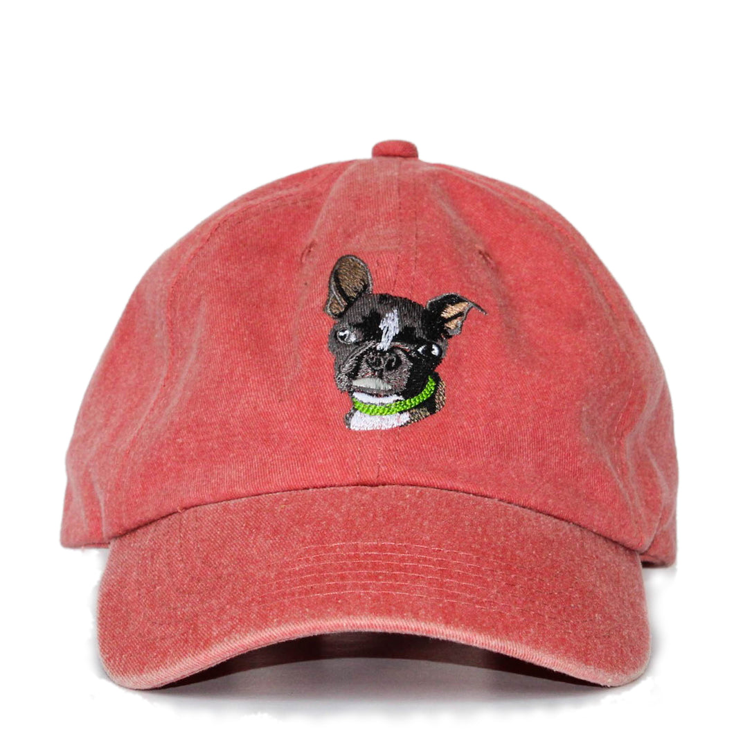 Boston Terrier Hat - Red. Vintage. Washed Cotton. Front View. Ruperto